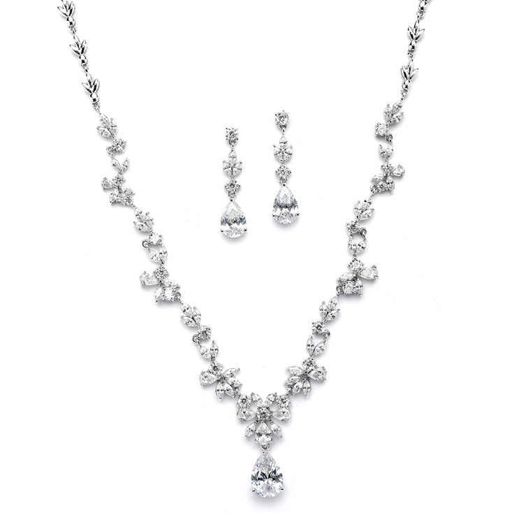 Luxurious CZ Vine Wedding Necklace and Earrings Set 4368S-S