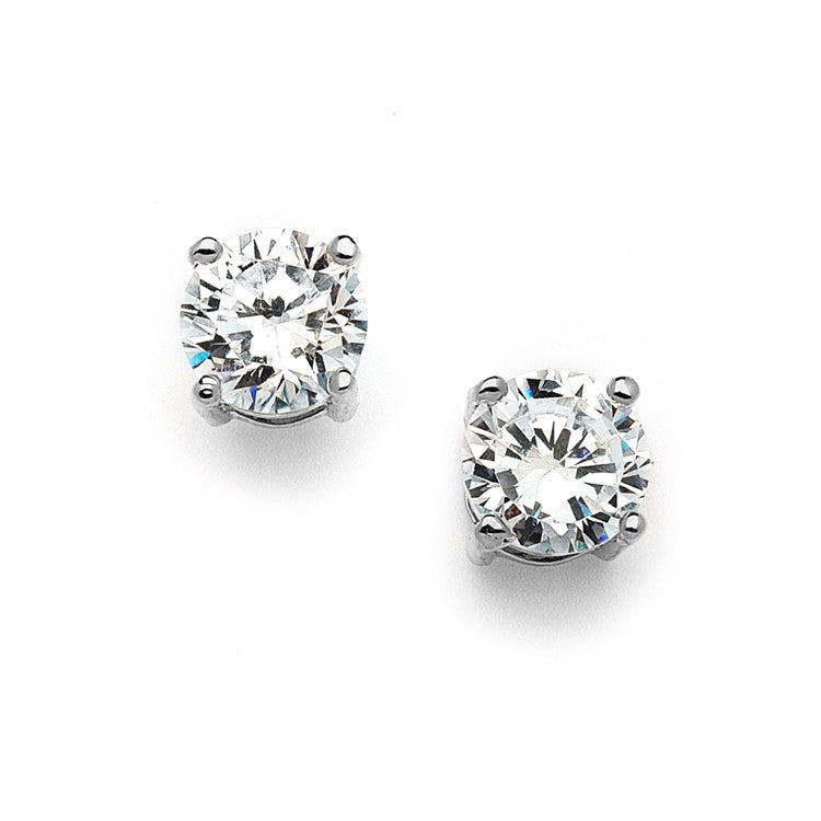 10mm Round Cubic Zirconia Stud Earrings 4370E-S