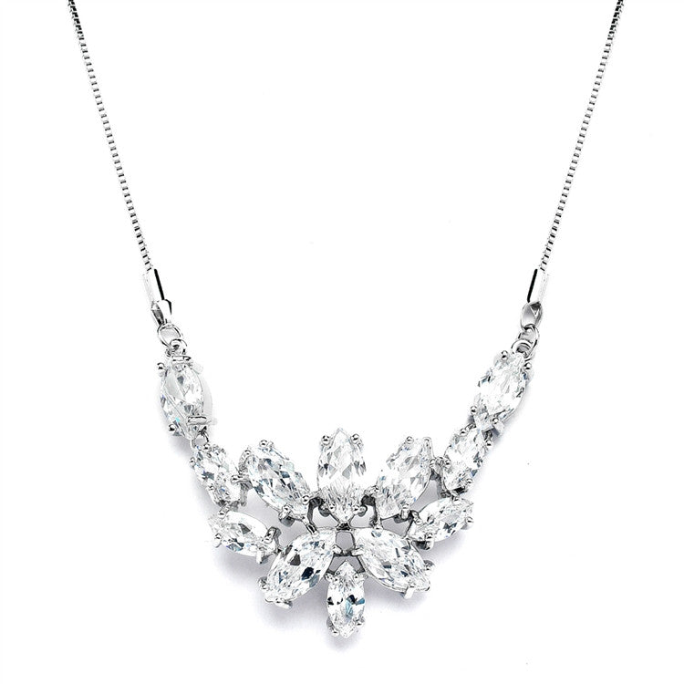 CZ Cluster Wedding Necklace with Marquis Leaves 4371N-S