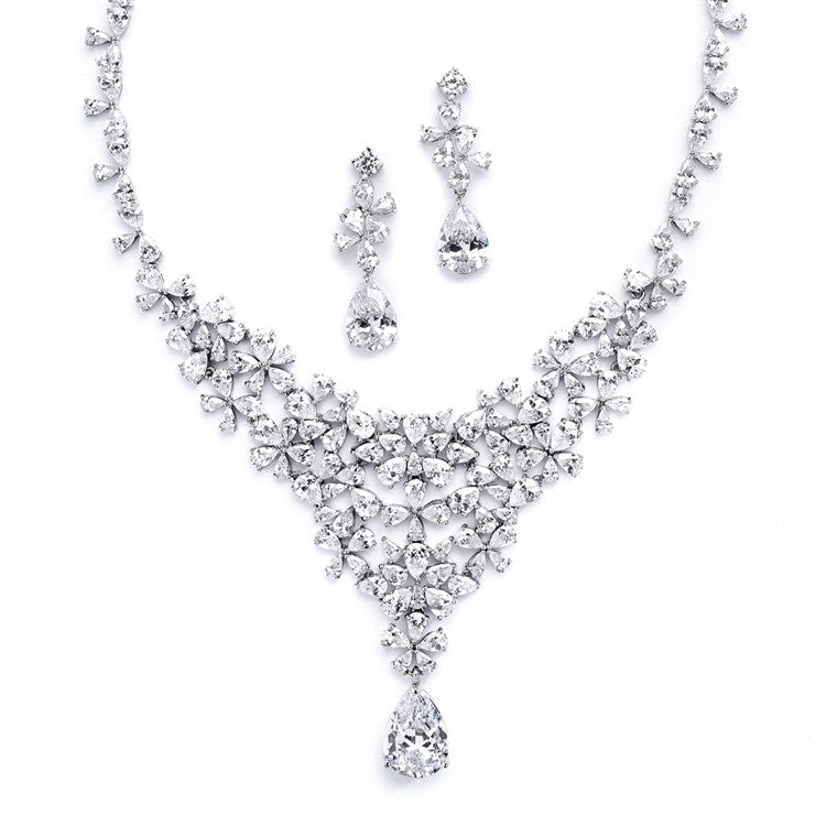 Red Carpet CZ Wedding or Pageant Statement Necklace Set 4377S-S
