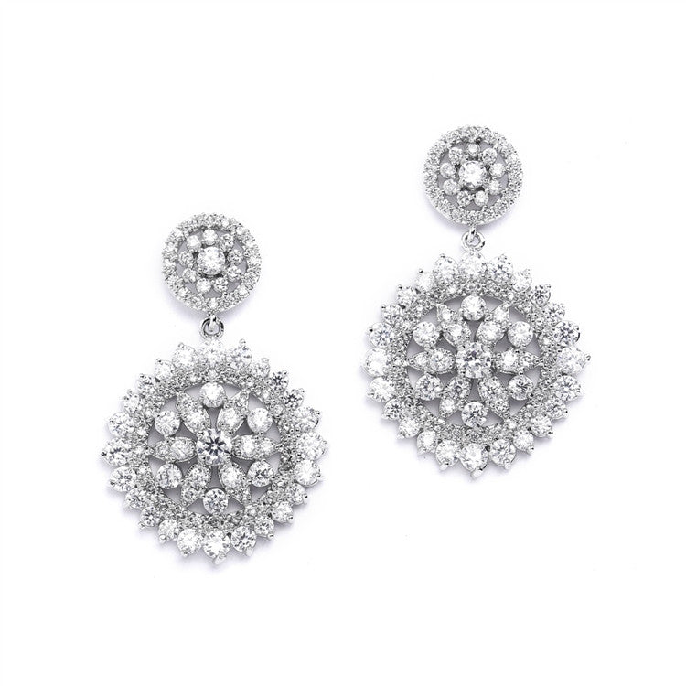 Vintage CZ Bridal Earrings with Pave Drops 4378E-S