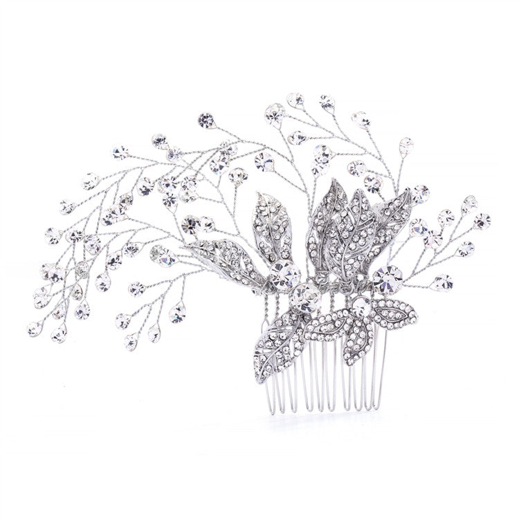 Bridal Hair Comb with Pave Flowers and Crystal Sprays 4382HC-S