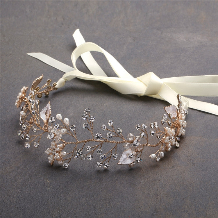 Bridal Headband with Hand Painted Gold and Silver Leaves 4384HB-I-G
