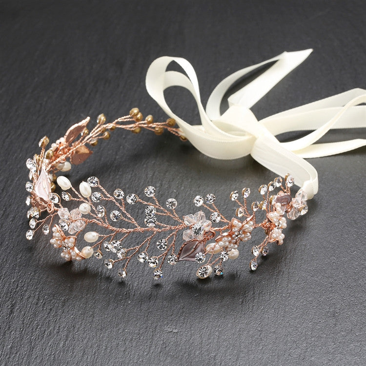 Bridal Headband with Hand Painted Rose Gold and Silver Leaves 4384HB-I-RG
