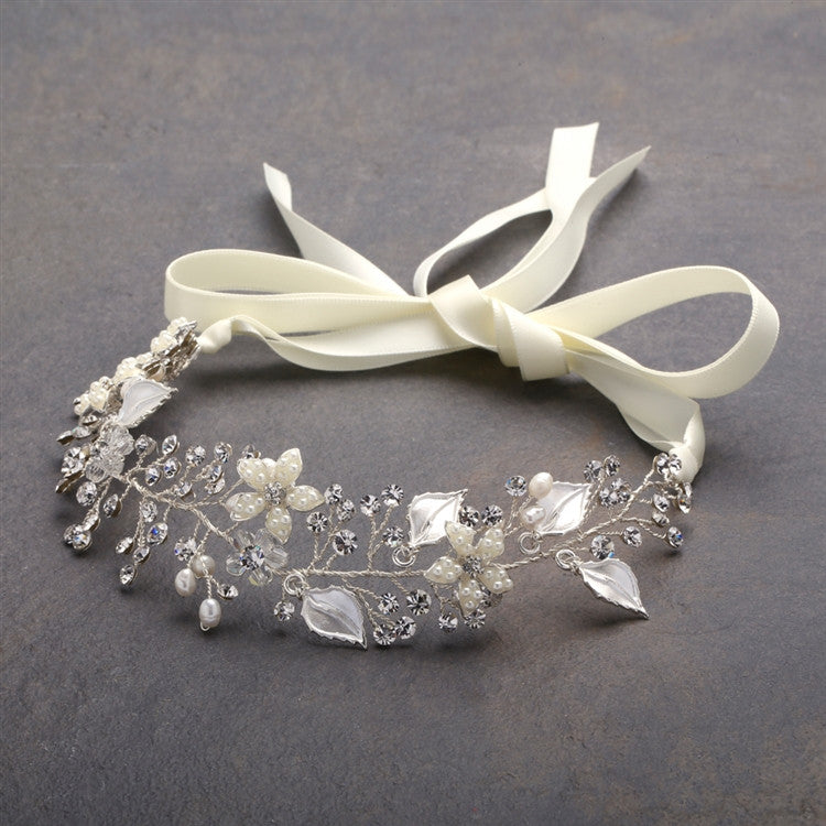 Bridal Ribbon Headband with Hand Painted Silver Leaves 4384HB-I-S