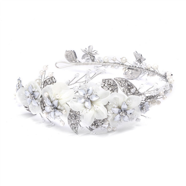 Enchanting Side Design Bridal Tiara Headband with Organza 4385HB-I-S
