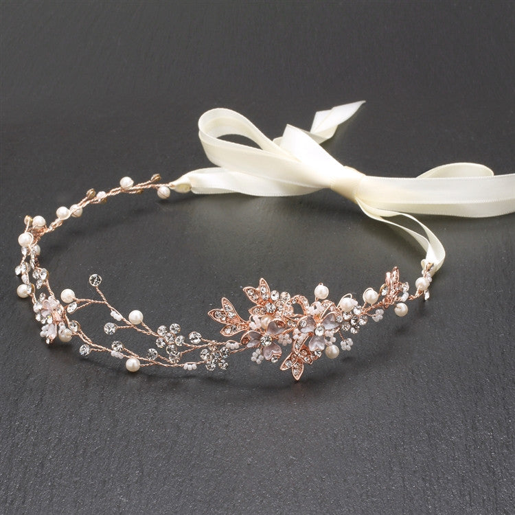 Handmade Bridal Headband with Painted Gold Rose Vines 4386HB-I-RG