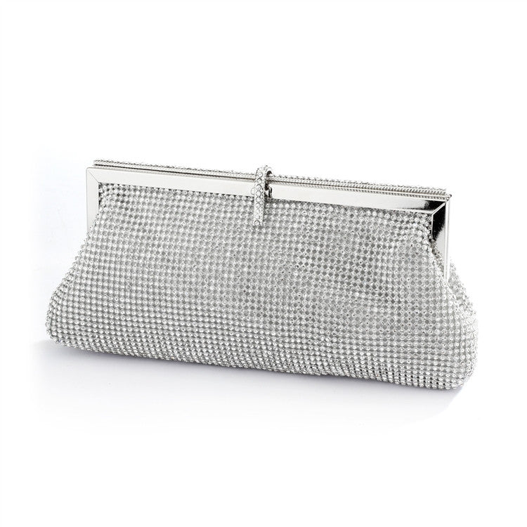 Luxurious Double-Sided Crystal Bridal Evening Bag or Wedding Purse with Vintage Frame 4393EB-CR-S