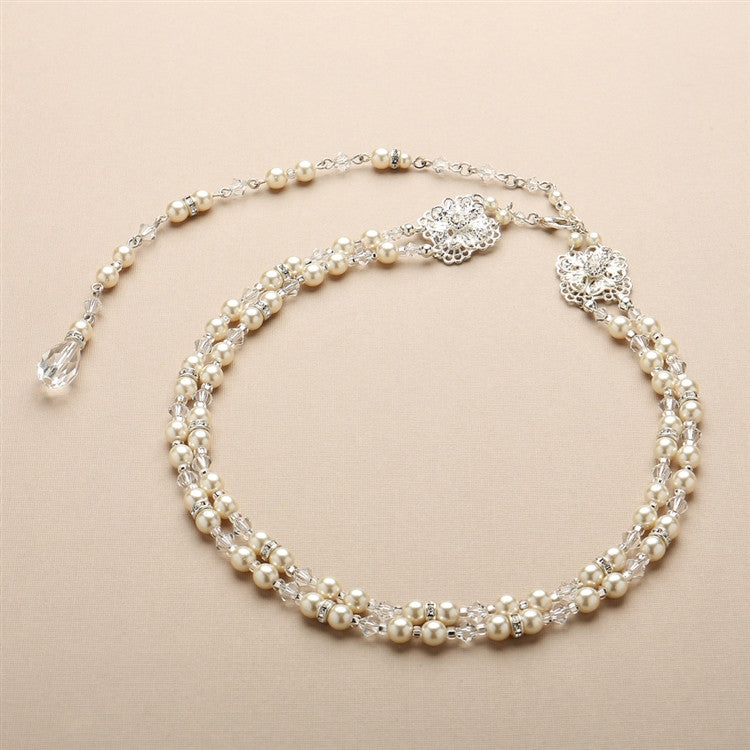 Pearl and Filigree 2-Row Bridal Back Necklace 4397N-LTI-CR-S