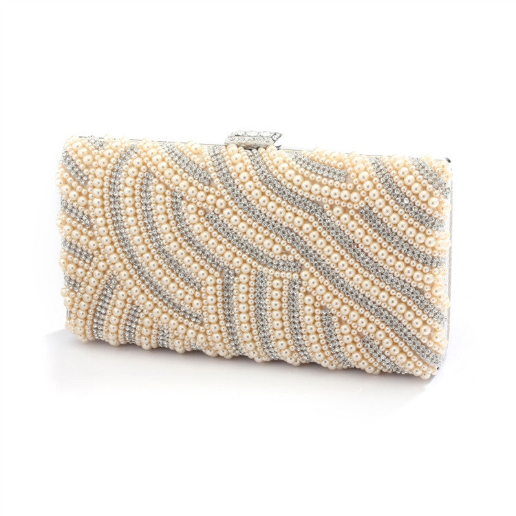 Honey Beige Pearl Bridal Evening Bag with Bezel Crystals 4398EB-HO-S