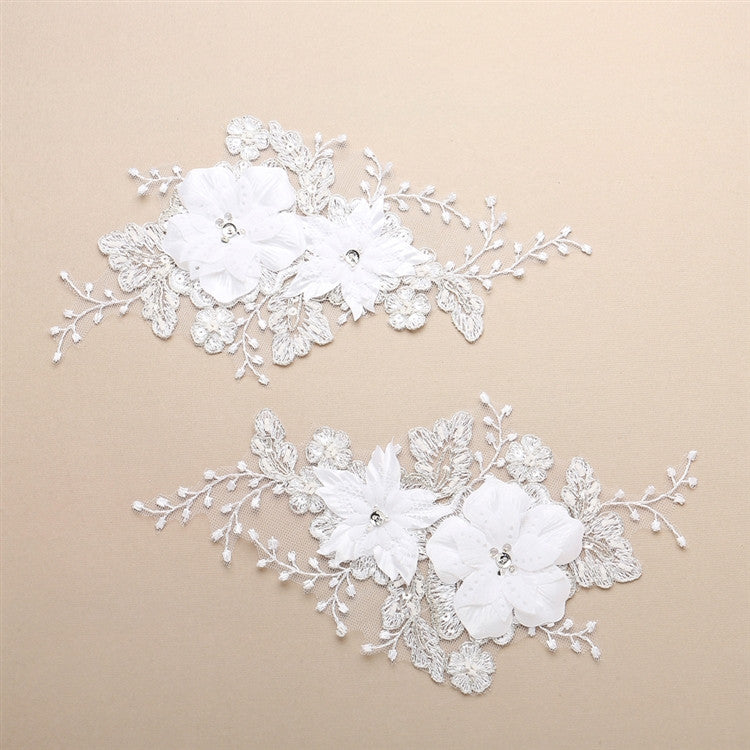 Luxurious Embroidered White Bridal Lace Applique with Dimensional Flowers 4403LA-W