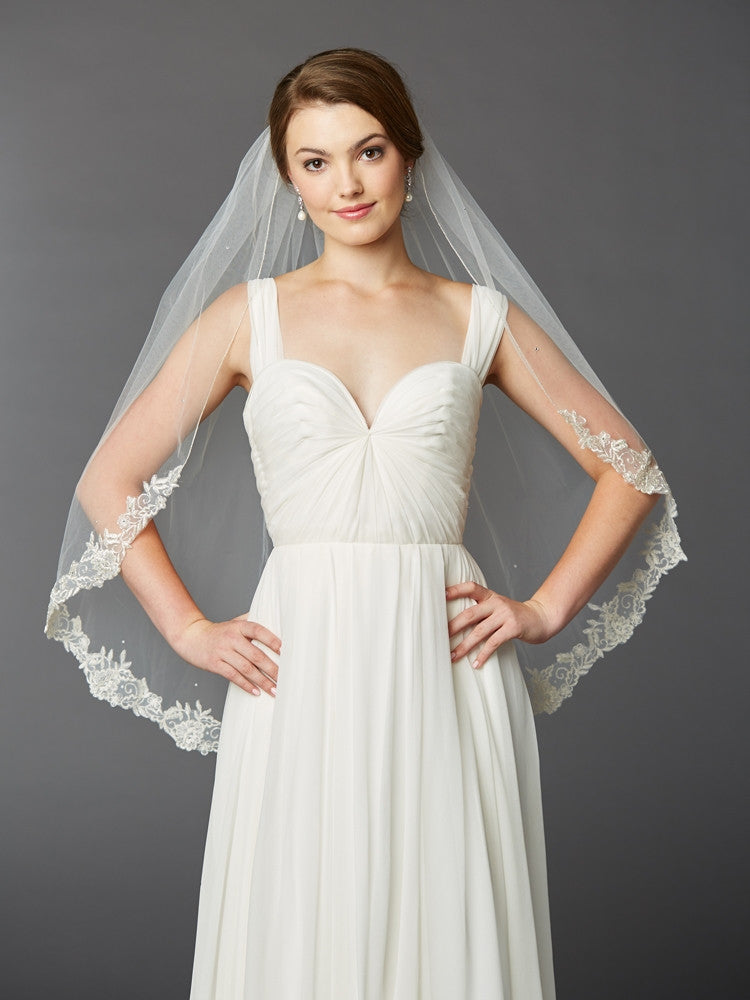 One Layer Fingertip Length Mantilla Bridal Veil with Silver Lace Edge & Crystals 4414V-I-S