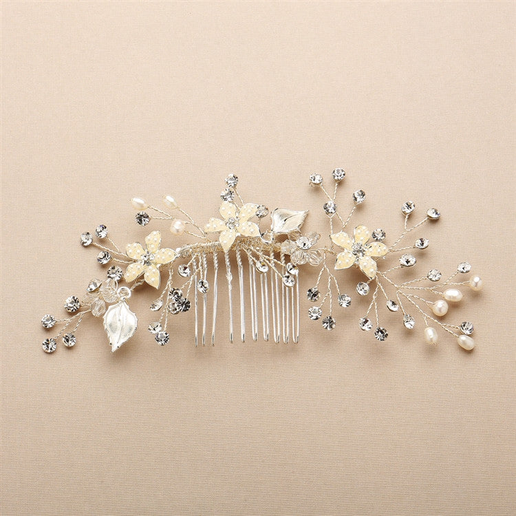Bridal Hair Comb with Hand Painted Leaves, Freshwater Pearls and Crystals Sprays 4425HC-I-S