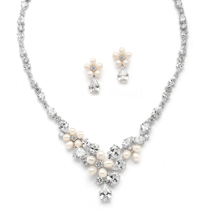 Ravishing Freshwater Pearl and CZ Statement Necklace and Earrings Set 4430S-I-S