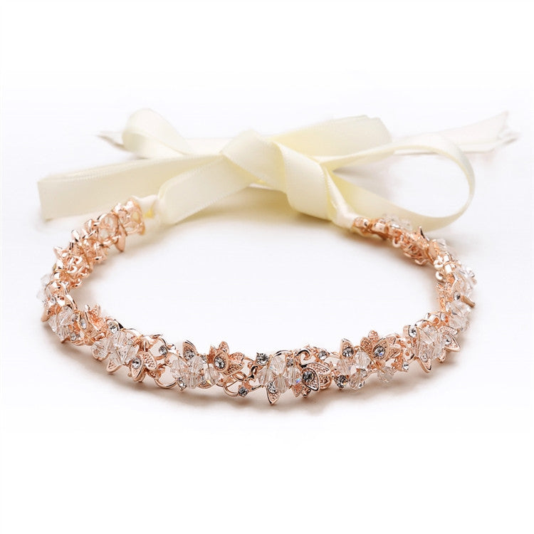 Slender Rose Gold Bridal Headband with Hand-wired Crystal Clusters and Ivory Ribbons 4431HB-I-RG