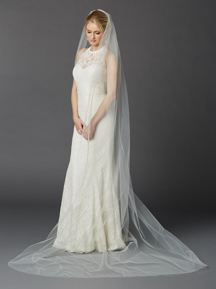 Cathedral Length One Layer Cut Edge Wedding Veil in Ivory 4433V-108-I
