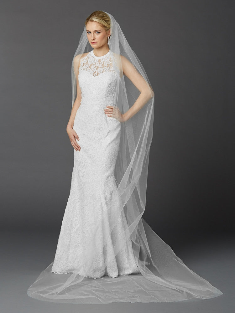 Cathedral Length Single Layer Cut Edge Bridal Veil in White 4433V-108-W