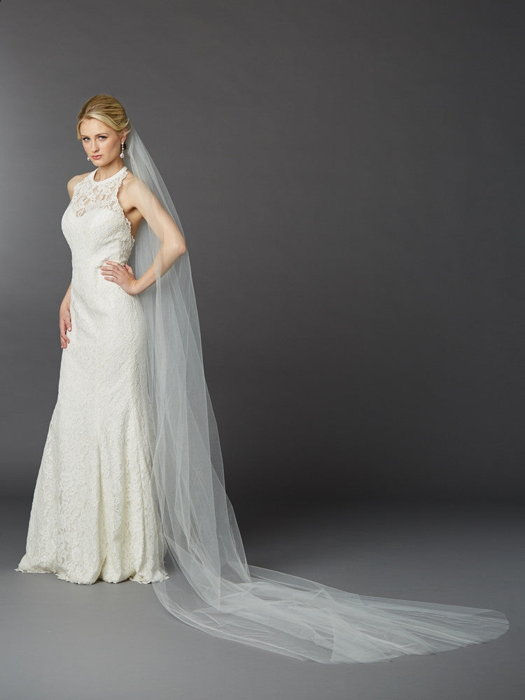 Royal Cathedral Length Single Layer Cut Edge Bridal Veil in Ivory 4433V-120-I