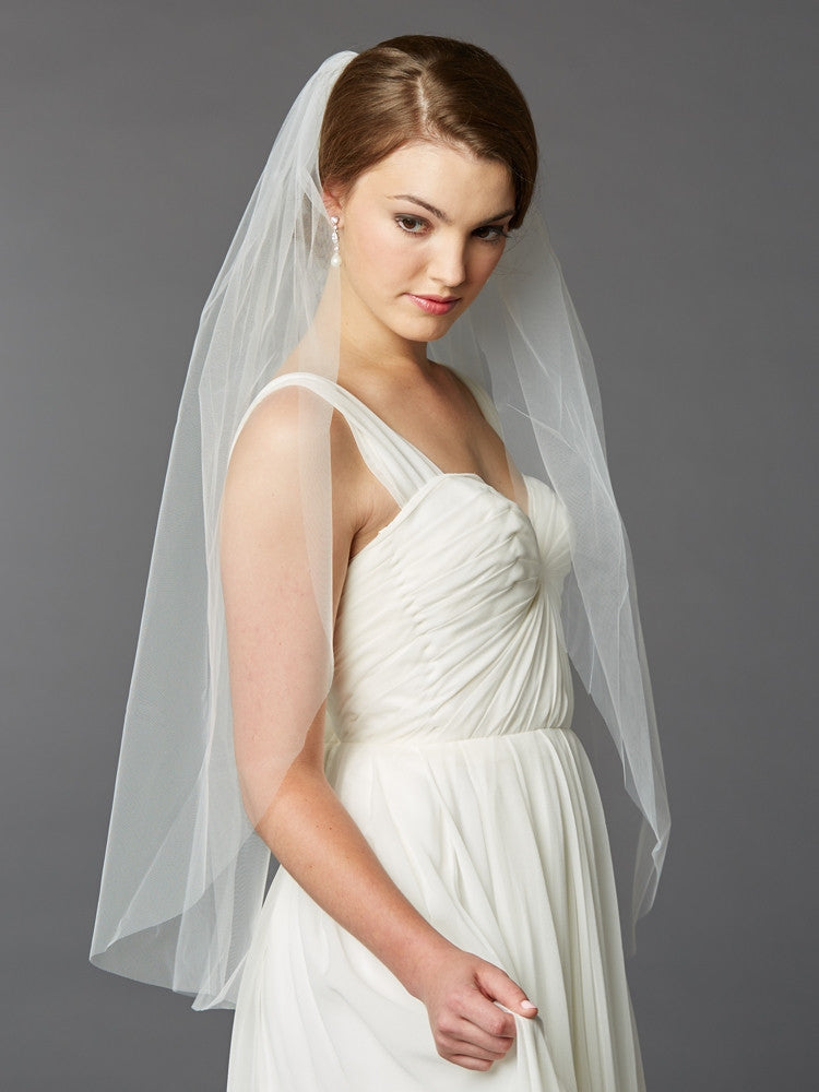 Fingertip Length Single Layer Cut Edge Bridal Veil 4433V-36-I