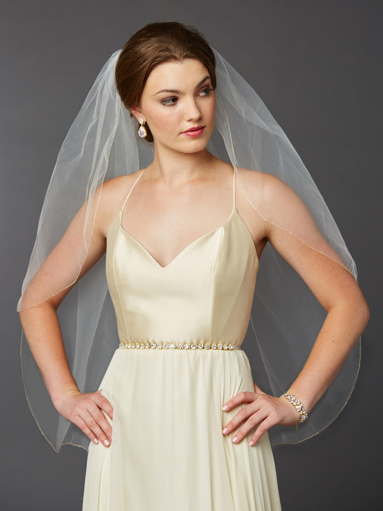 Gold Pencil Edge Fingertip or Hip Length Single Layer Wedding Veil 4434V-36-l-G