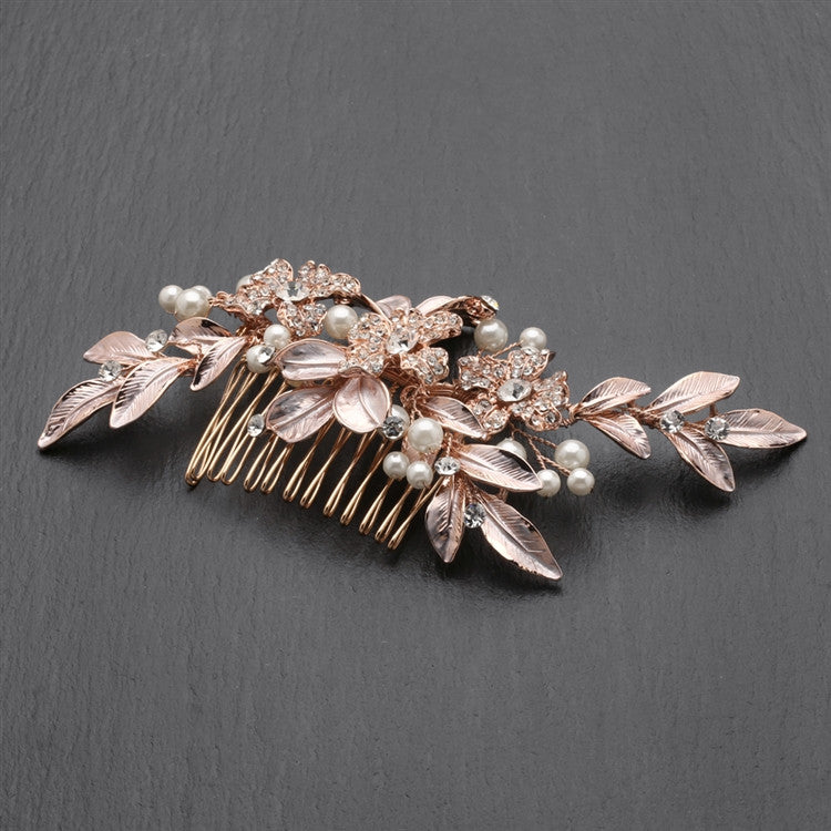 New! Designer Bridal Hair Comb With Hand Painted Rose Gold Leaves And Pave Crystals 4437hc-i-rg