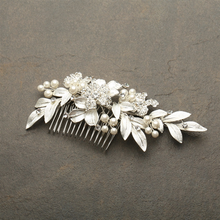 Designer Bridal Hair Comb with Hand Painted Leaves and Pave Crystals 4437HC-I-S