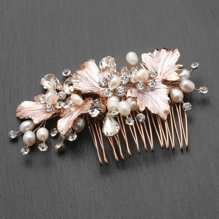 New! Couture Bridal Hair Comb With Hand Painted Rose Gold Leaves Freshwater Pearls And Crystals 4439hc-i-rg