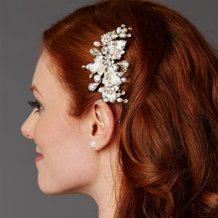 Couture Bridal Hair Comb with Hand Painted Silver Leaves, Freshwater Pearls and Crystals 4439HC-I-S