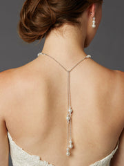 Adjustable Glass Pearl Back Necklace with Lariat Dangles - Handmade USA 4440N-W-CR-S