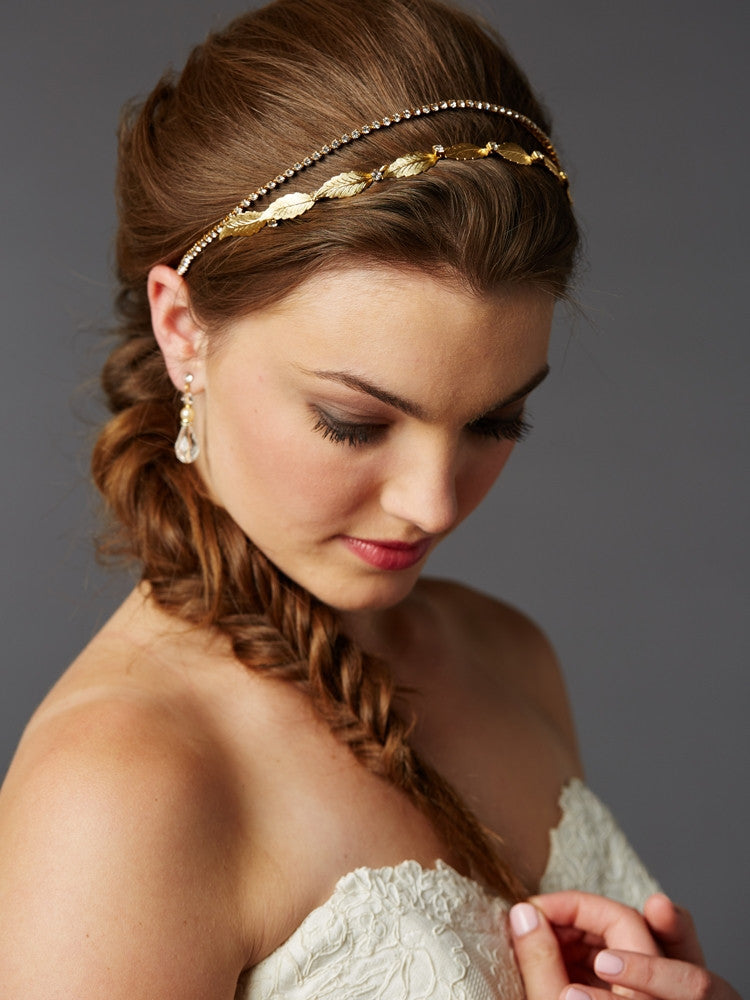 Hand-Made Garland of Leaves Split Bridal Headband Crown 4444HB-G-I