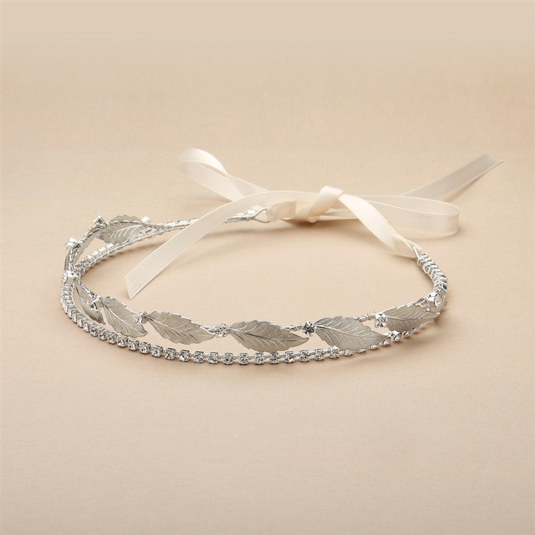 Hand-Made Garland of Leaves Split Bridal Headband Tiara 4444HB-S-I