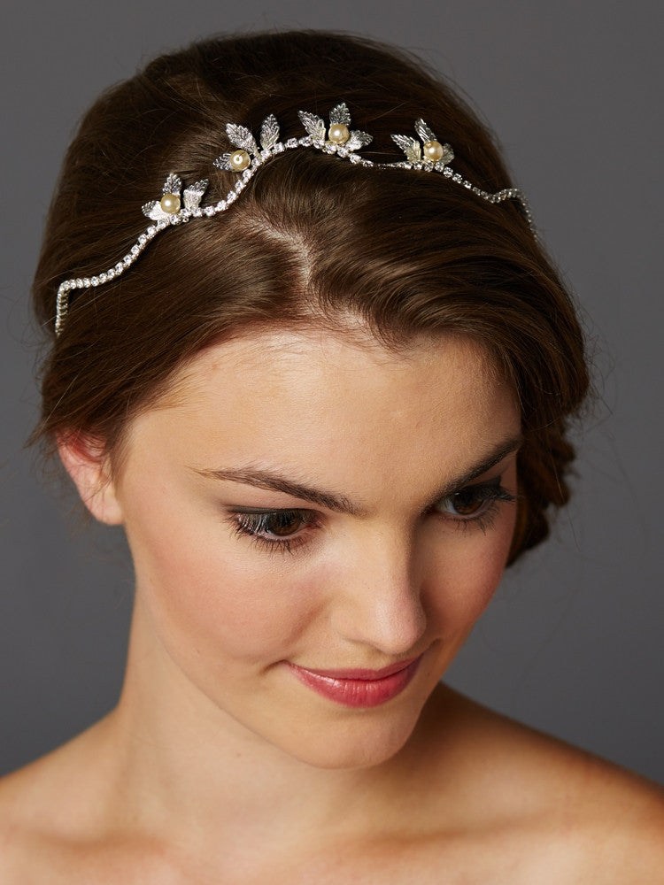 Hand-made Wavy Bridal Tiara Crown with Leaves and Pearls 4448HB-I-S