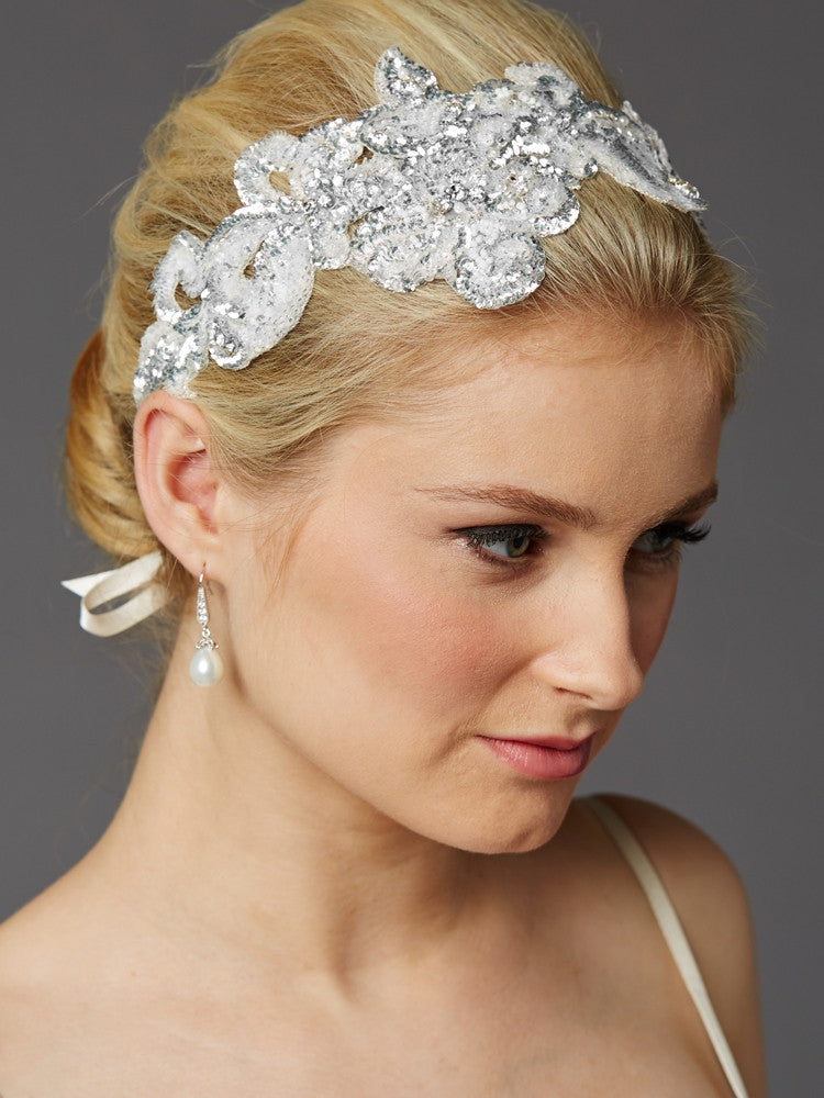 Hand-Made Glistening Silver Sequin Lace Bridal Headband 4453HB-S-I
