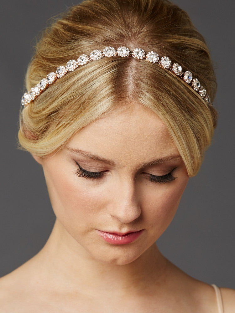 Rose Gold Bridal Headband with Genuine Preciosa Crystals 4455HB-RG-I