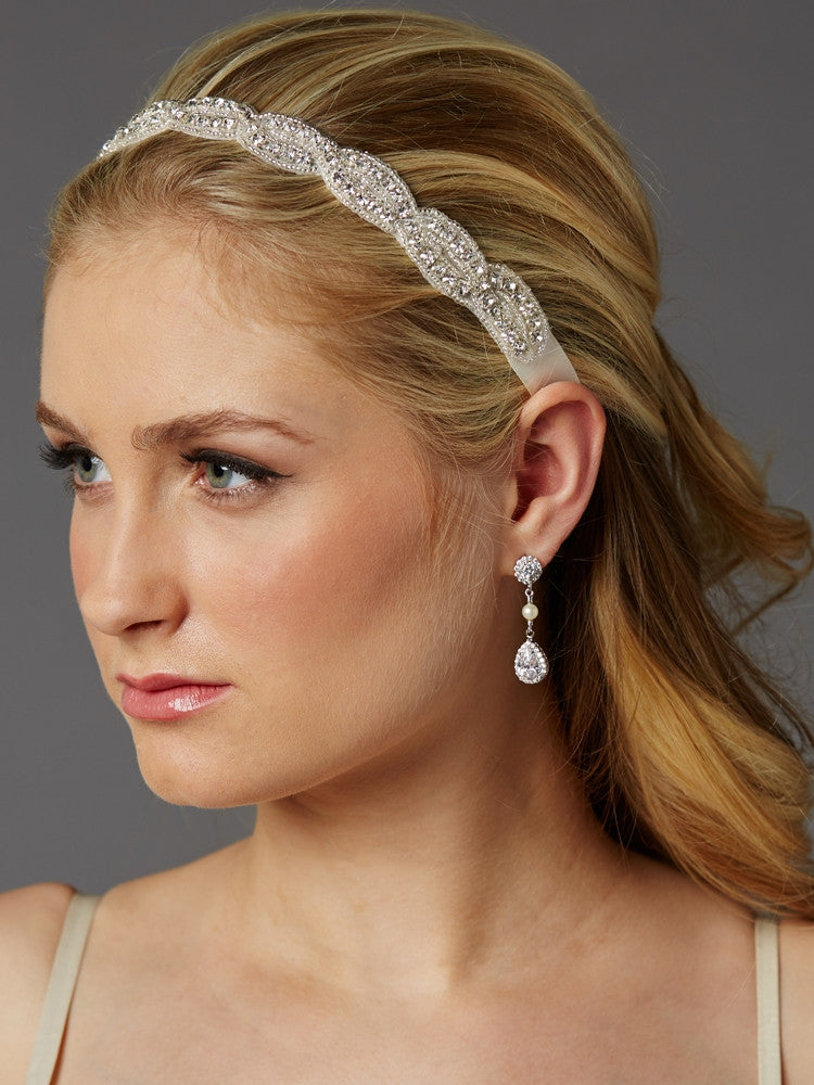 Braided Bridal Headband with Silver Seed Beads and Crystal Rhinestones 4458HB-S