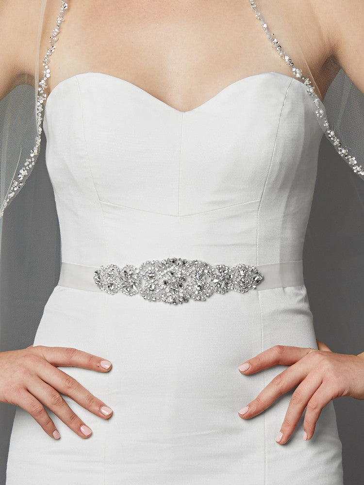 Luxurious Crystal and Pearl Applique Bridal Belts or Sash 4461SH-W-S