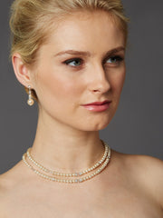 2-Row Glass Pearl Bridal Back Necklace with Dramatic Backdrop 4472N-LTI-S