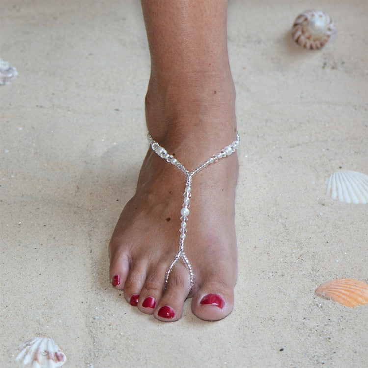 Crystal and Glass Pearl Foot Jewelry Barefoot Sandal with Beaded Anklet 4474FT-W