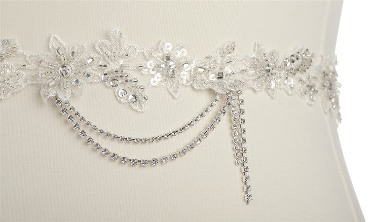 Floral Bridal Sash with Beaded European Wedding Lace 4479SH-I-S