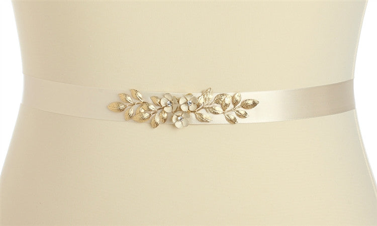 0f6a3c8b7417 Hand Enameled Tea Rose Designer Bridal Sash Belt in Ivory Gold 4482BT-I-G