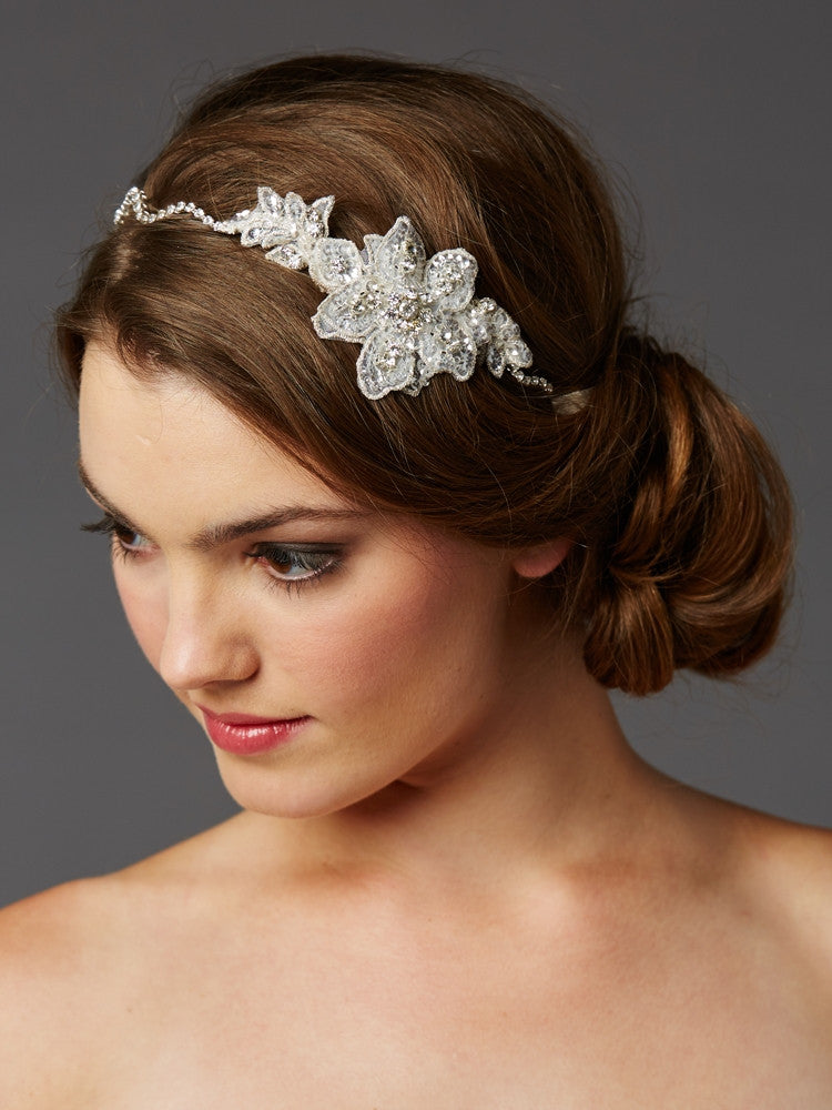 Genuine Preciosa Crystal Hand Wired Wavy Headband with Fine European Lace 4483HB-LTI-S