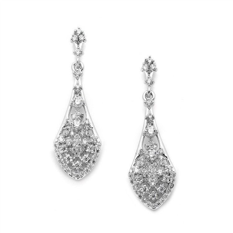 Intricate Vintage Bridal Earrings with Pave CZ Dangles 4488E-S