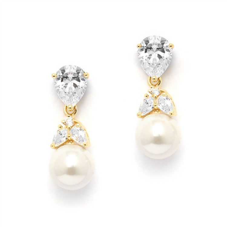 Gold CZ Bridal Earrings with Pears and Pearl Drops 4490E-I-G