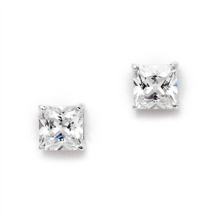 1.25 Ct. Princess Cut Cubic Zirconia Stud Earrings for Weddings or Bridesmaids 4492E-S