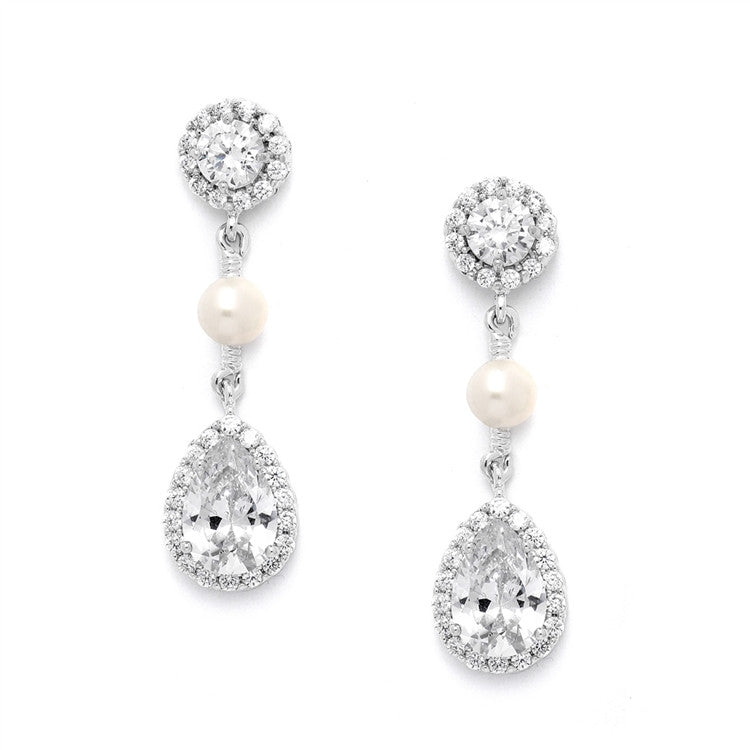 CZ and Freshwater Pearl Designer Bridal Earrings 4493E-S