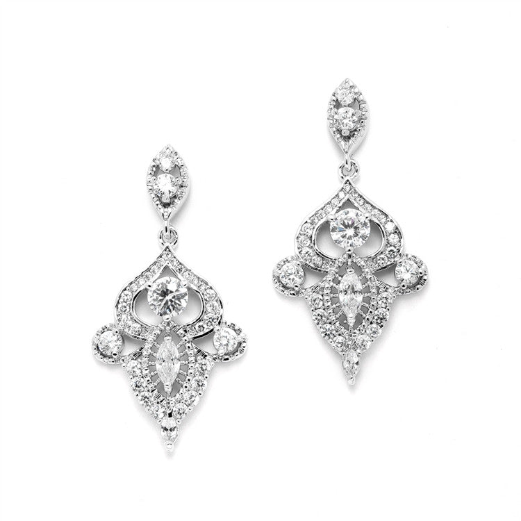 Intricate Art Deco CZ Dangle Bridal Statement Earrings 4504E-S