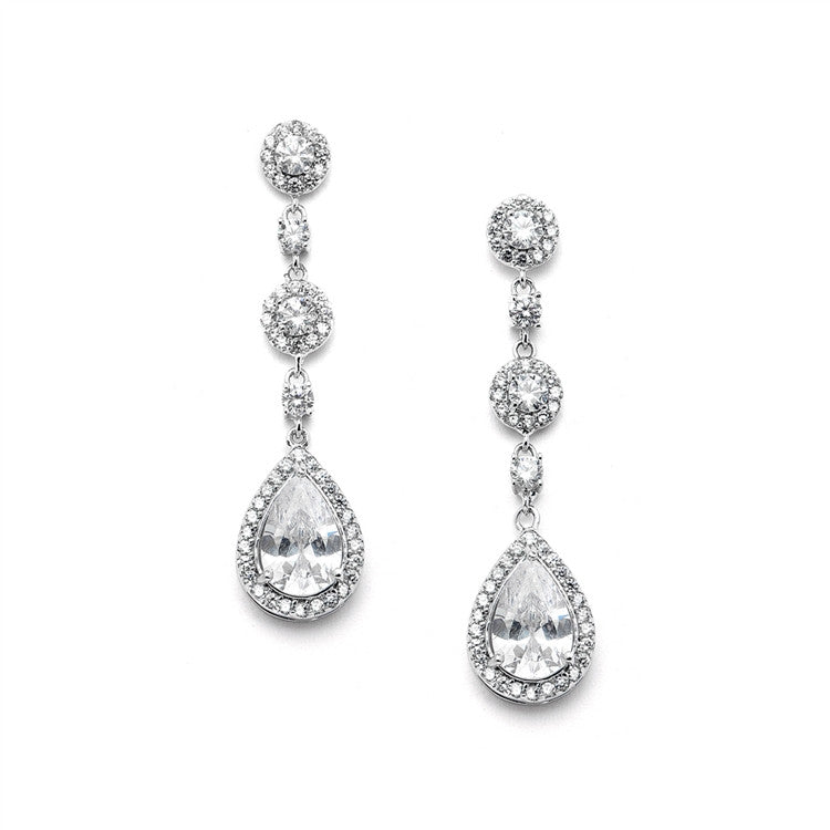 Pear-shaped Drop Bridal Earrings with Micro-Pave CZ 4505E-S