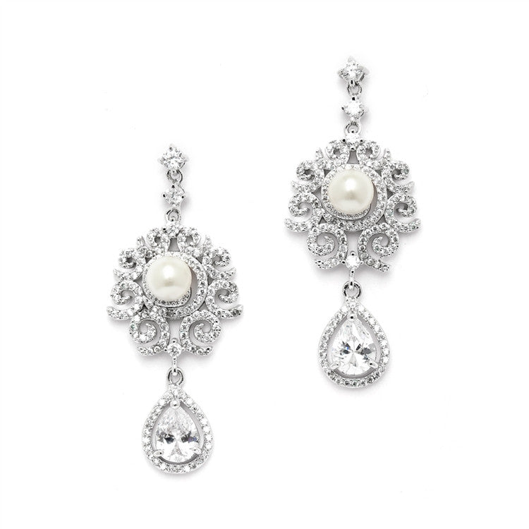 Luxurious Micro Pave CZ Wedding Earrings with Scrolls and Ivory Pearls 4506E-I-S