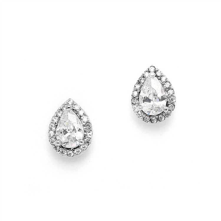 1/2 Ct. CZ Pear-Shaped Studs with Pave Frames 4507E-S