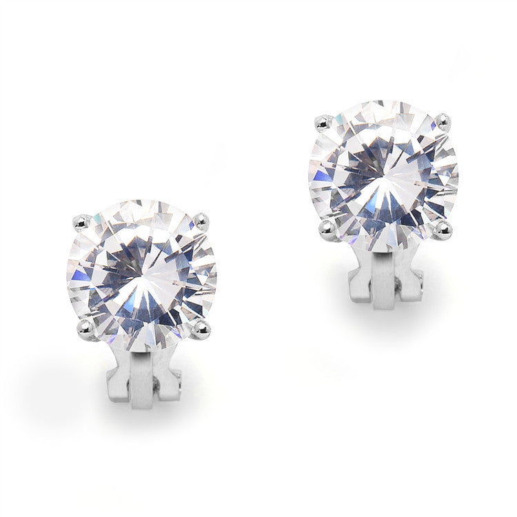 Platinum Clip-On Earrings with 3 Carat 9.5mm CZ Solitaire 4512EC-S